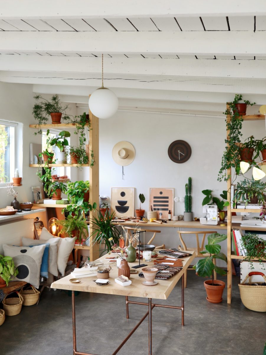 A store with bright white walls containing colorful plants, hats, art, and trinkets.