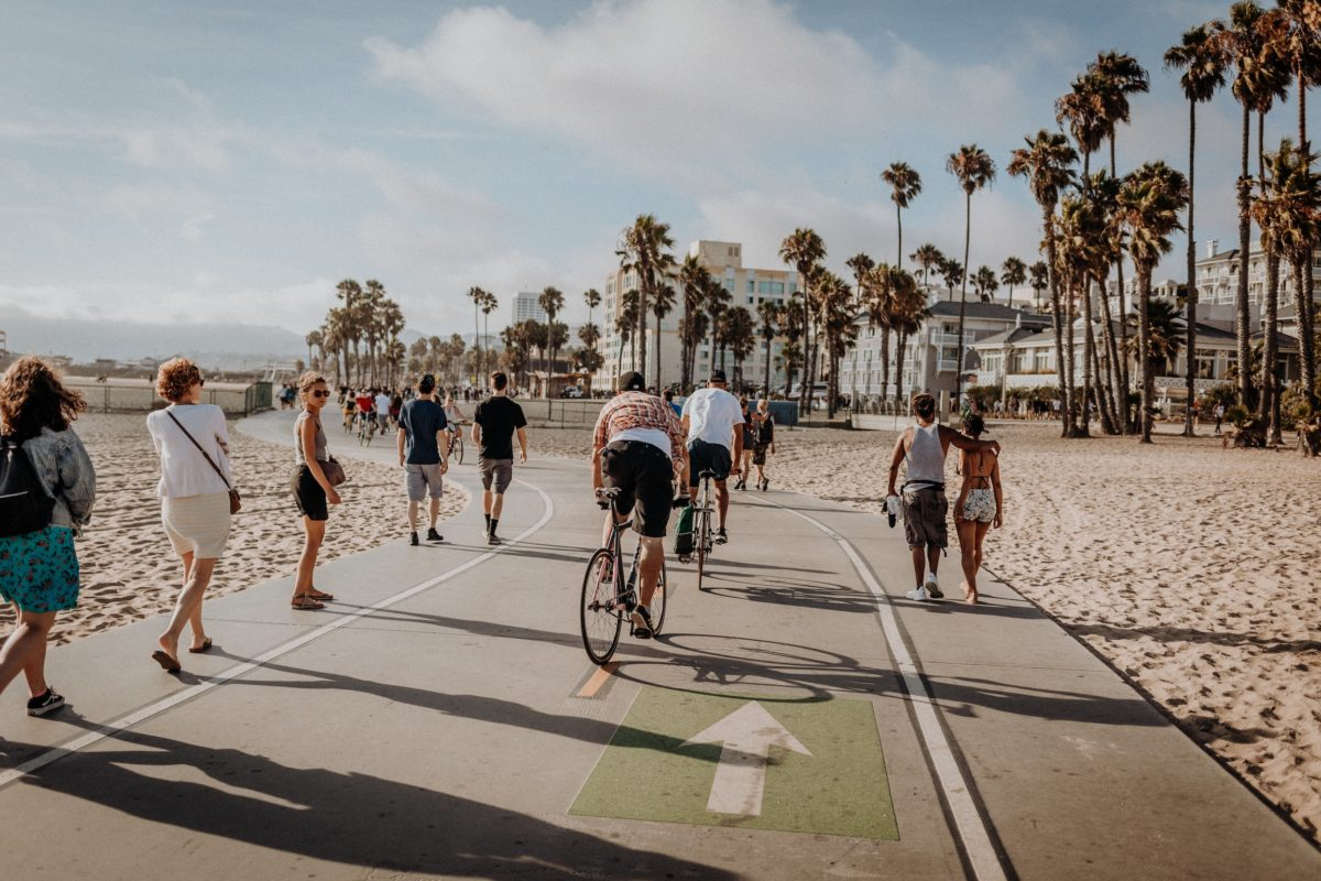 a group of bikers pedal down a road surrounded by sand towards a cluster of palm trees beneath a pale blue skye