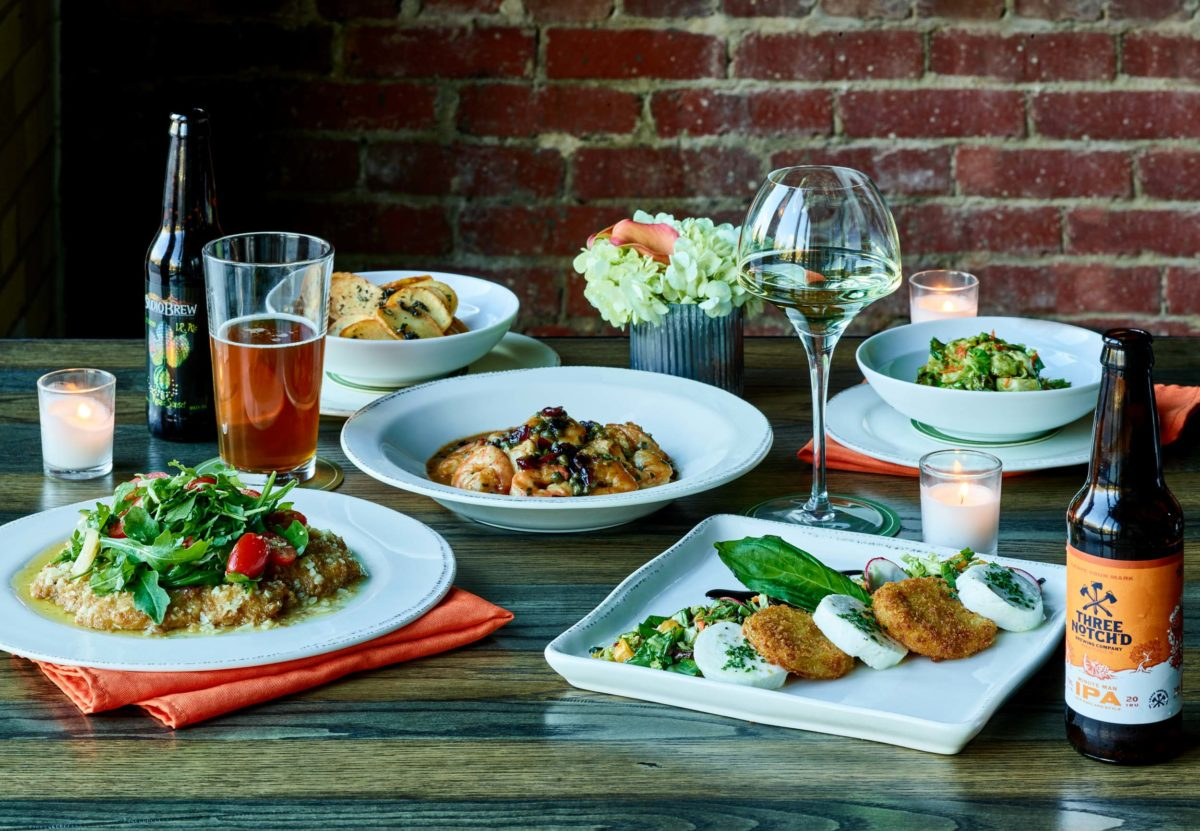 a spread of southern cuisine and wines