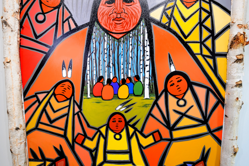 a colorful painting of Indigenous Canadians gathered in the woods around a fire