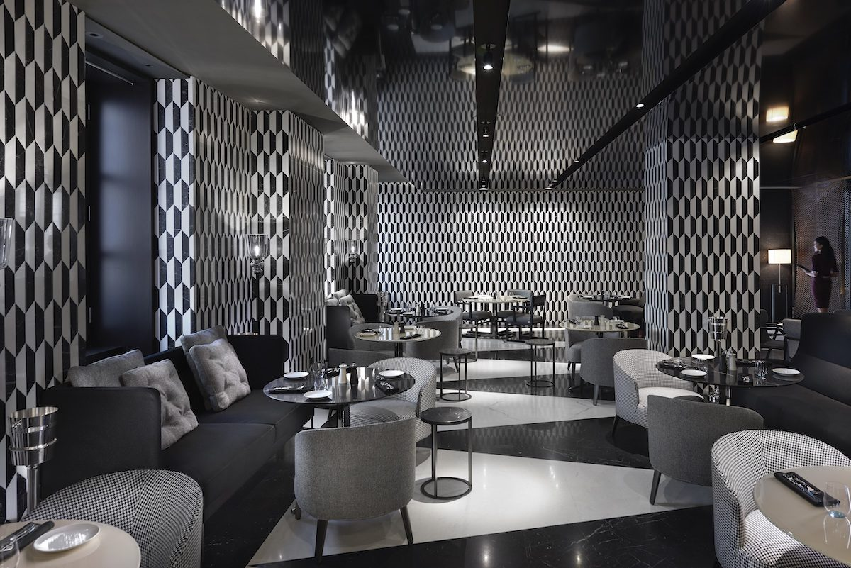 silver and black lounge