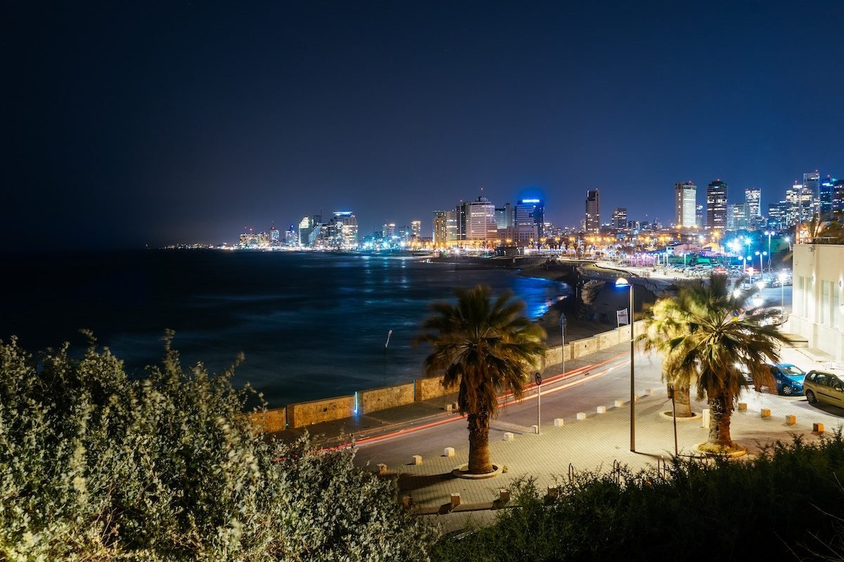 Tel Aviv skyline from the beach at night