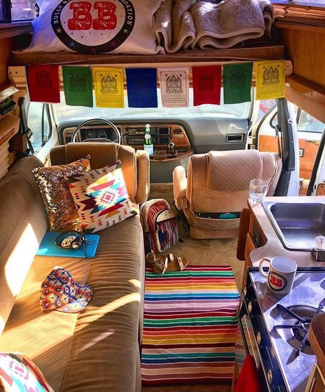 inside a clean and funky camper van
