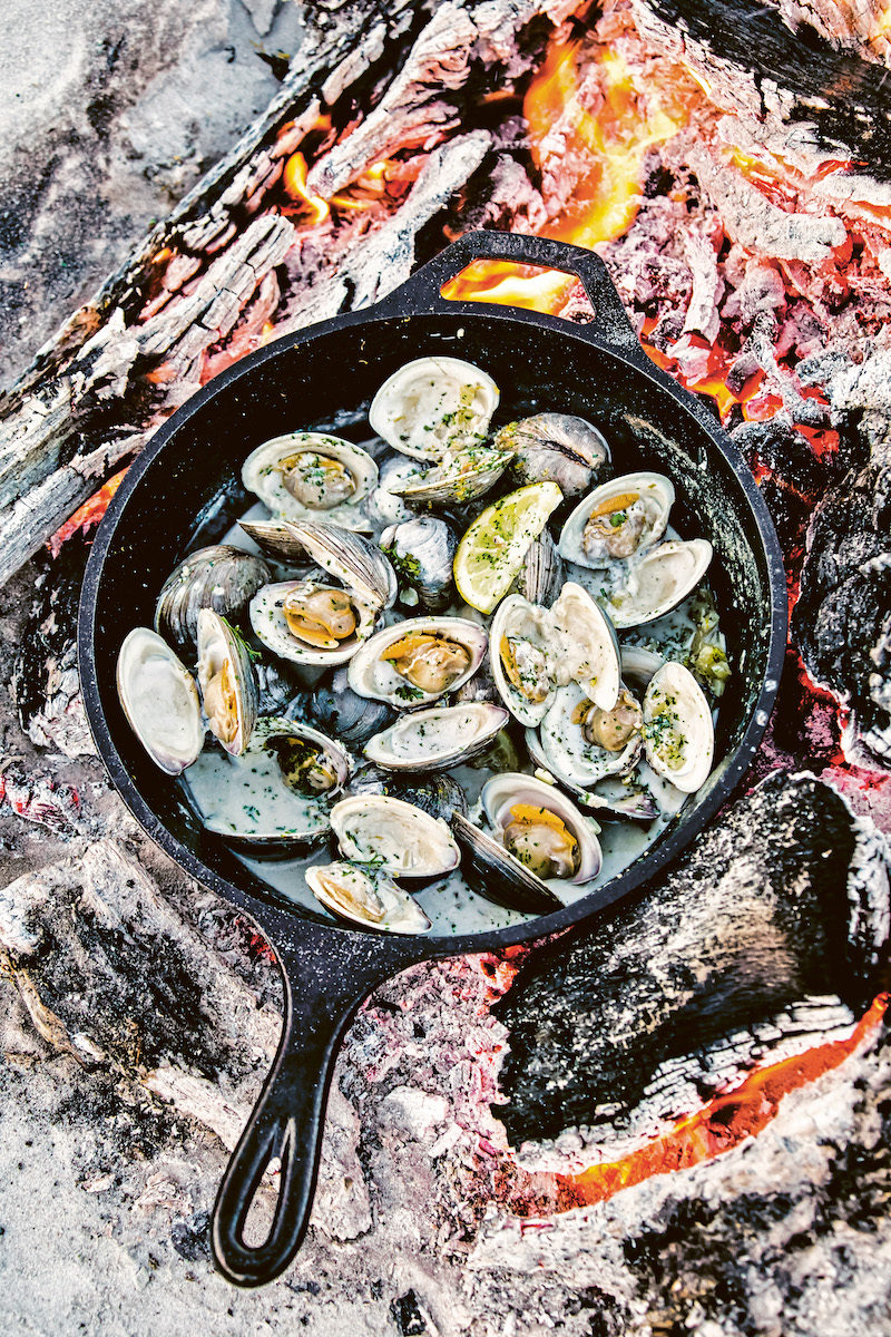 skillet of oysters