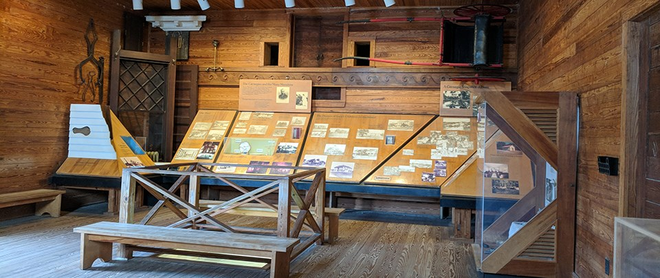 museum exhibit in old building