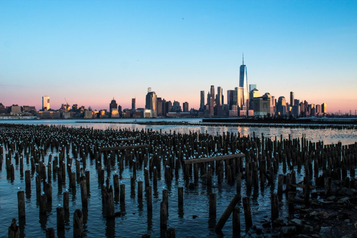 view of Manhattan from a port in Jersey City