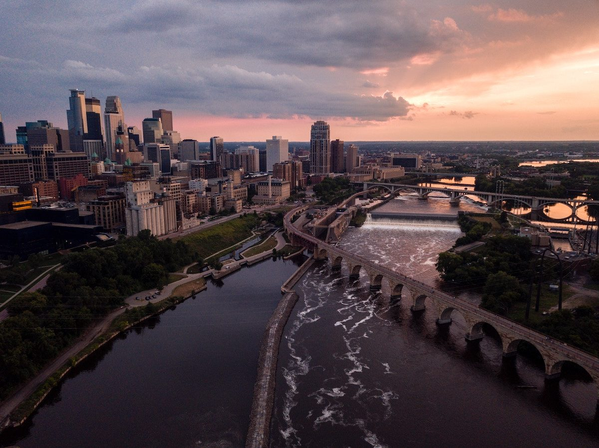 aerial view of minneapolis skyline