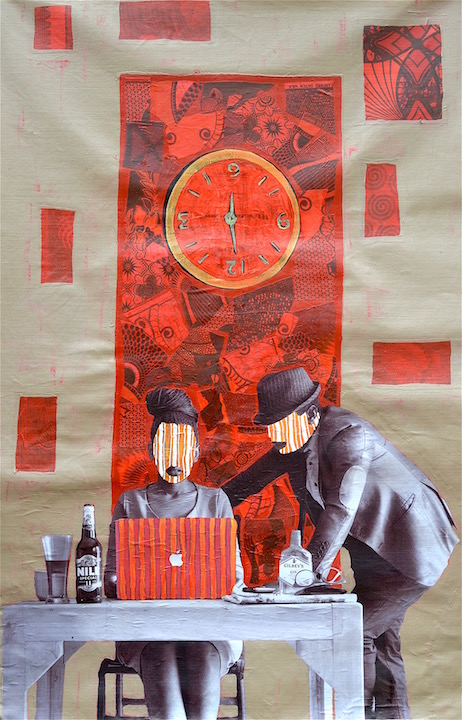 a collage artwork of a man standing over a woman working at a computer