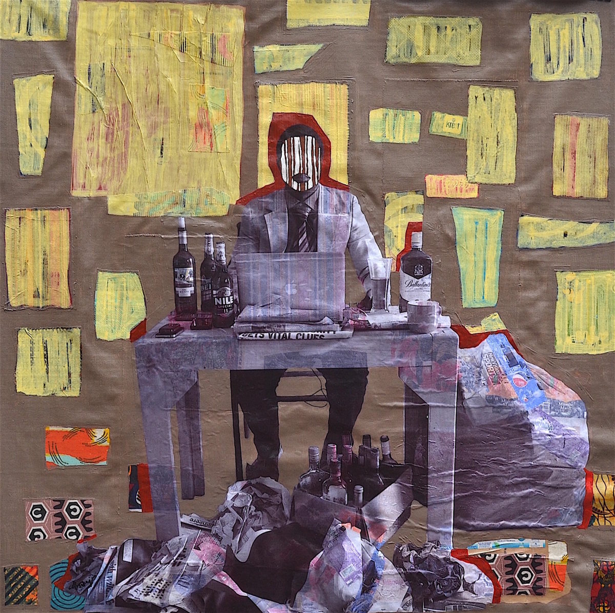a collage artwork of a man at a computer surrounded by beer bottles