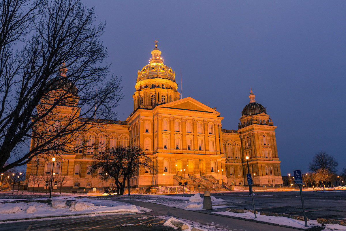 large capital building at dusk