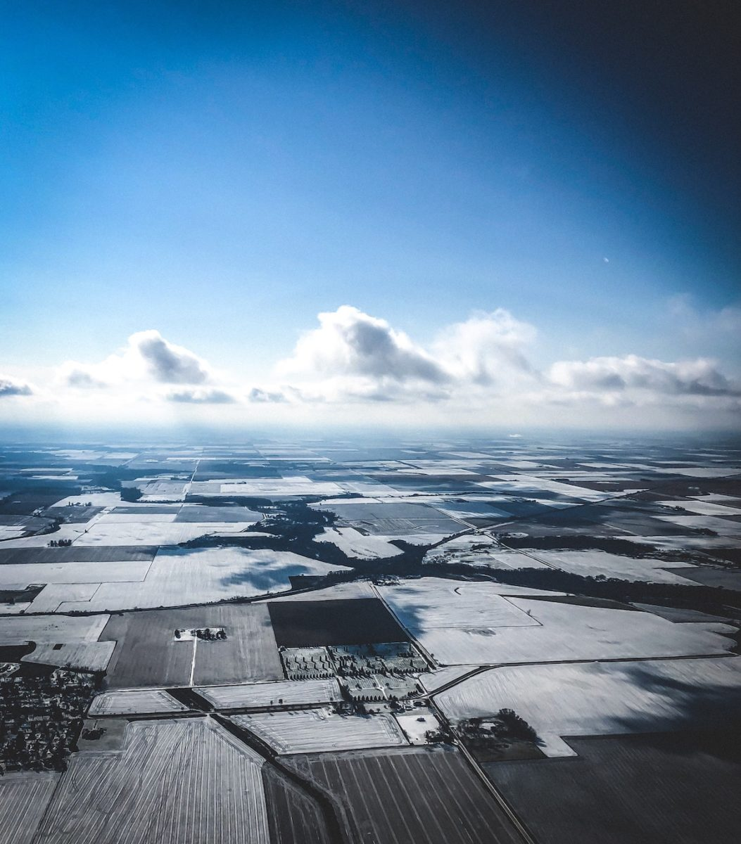 aerial view of rural Iowa in snowy winter