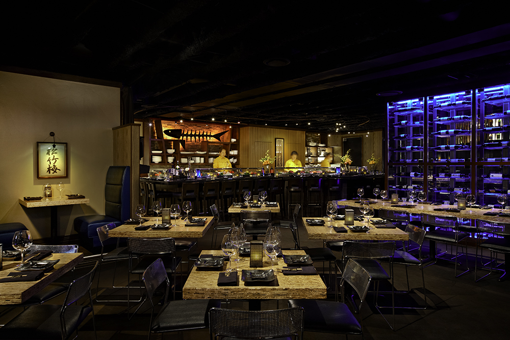 the dimly lit interior of a Japanese restaurant