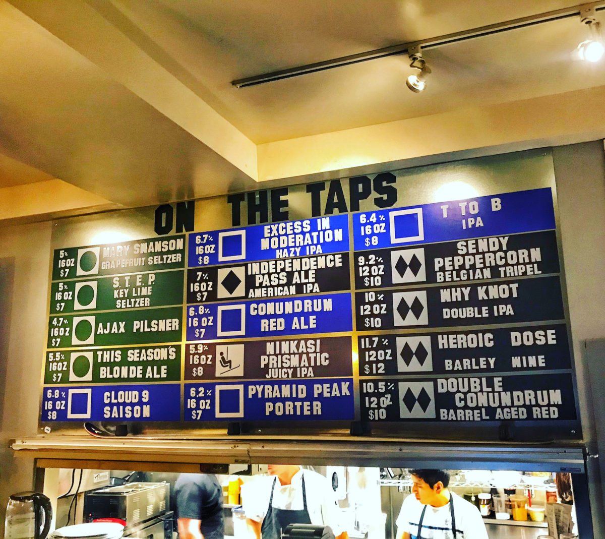 a menu listing a variety of beers on tap