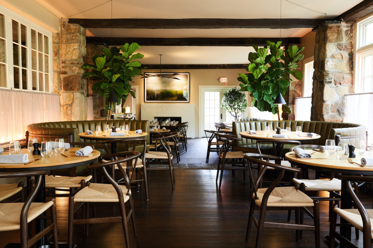 an upscale restaurant dining room decorated with trees