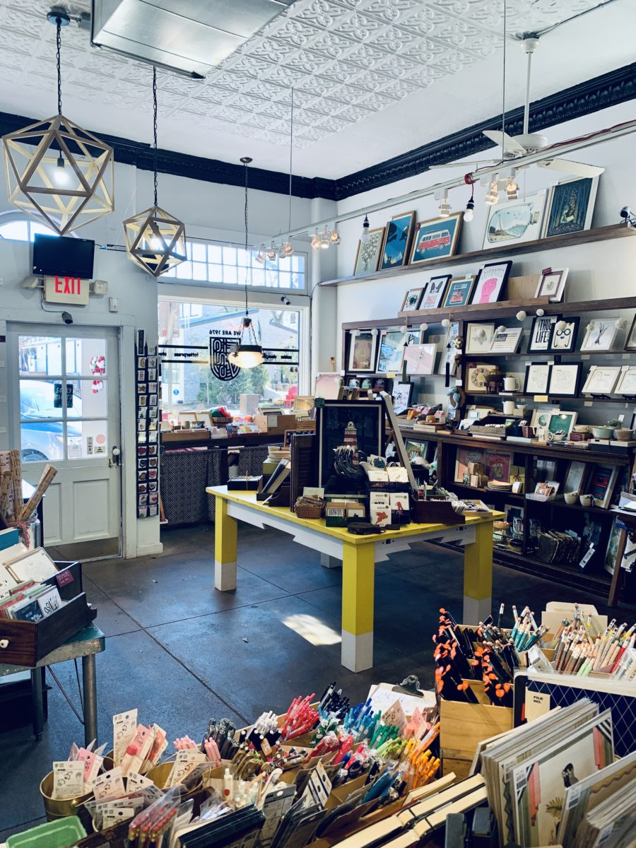 interior of a print and craft goods store in dallas