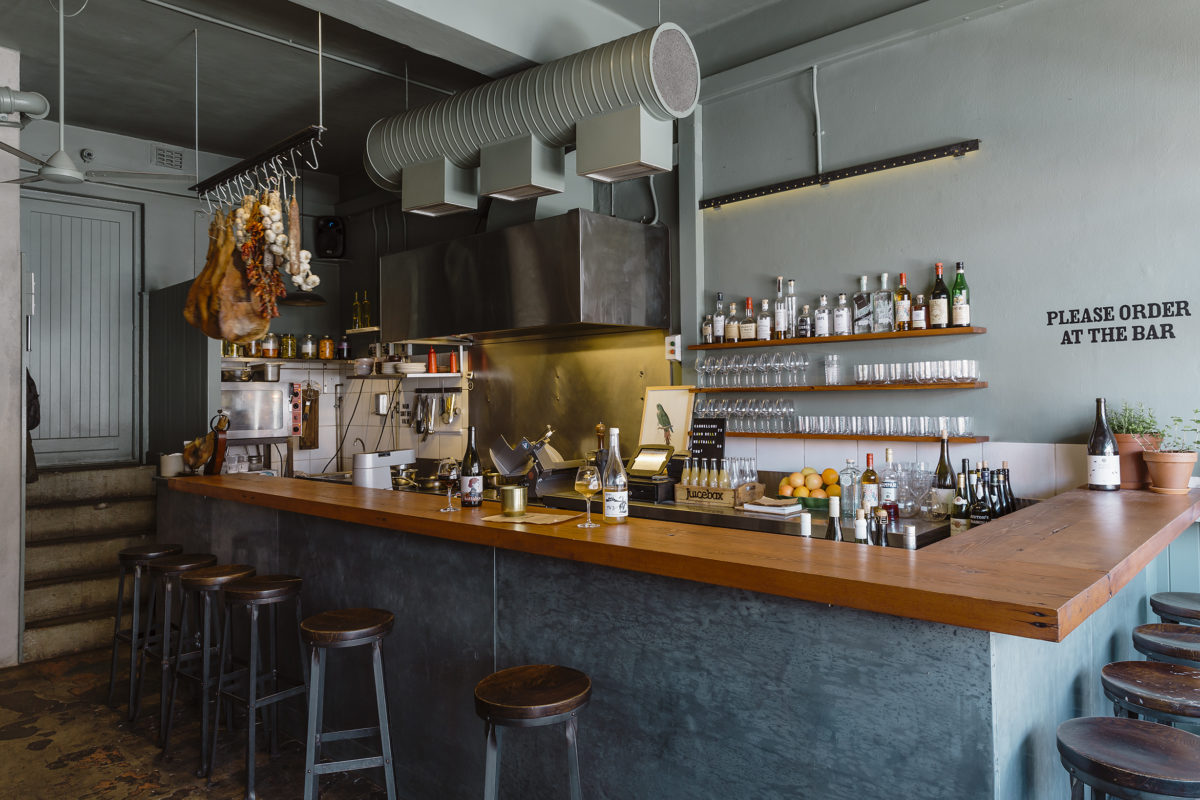 an intimate bar lined with barstools