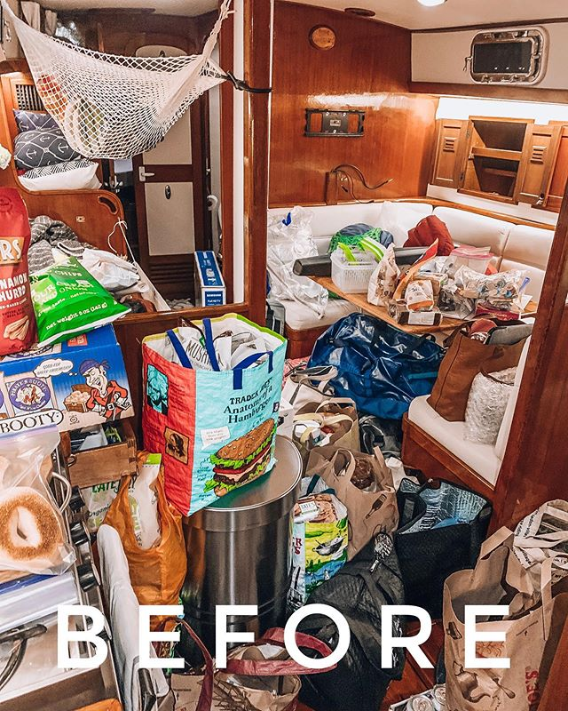 an extremely cluttered sailboat salon