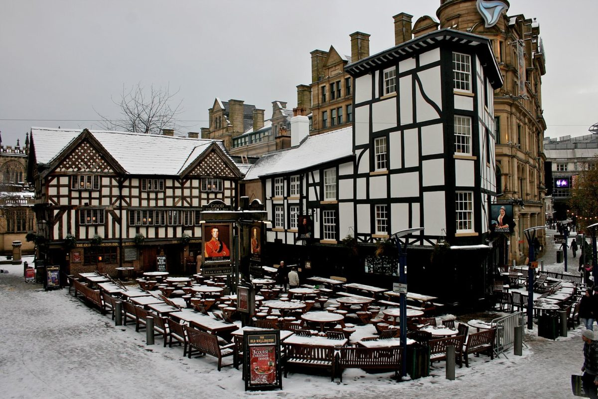 a village square on a snowy day