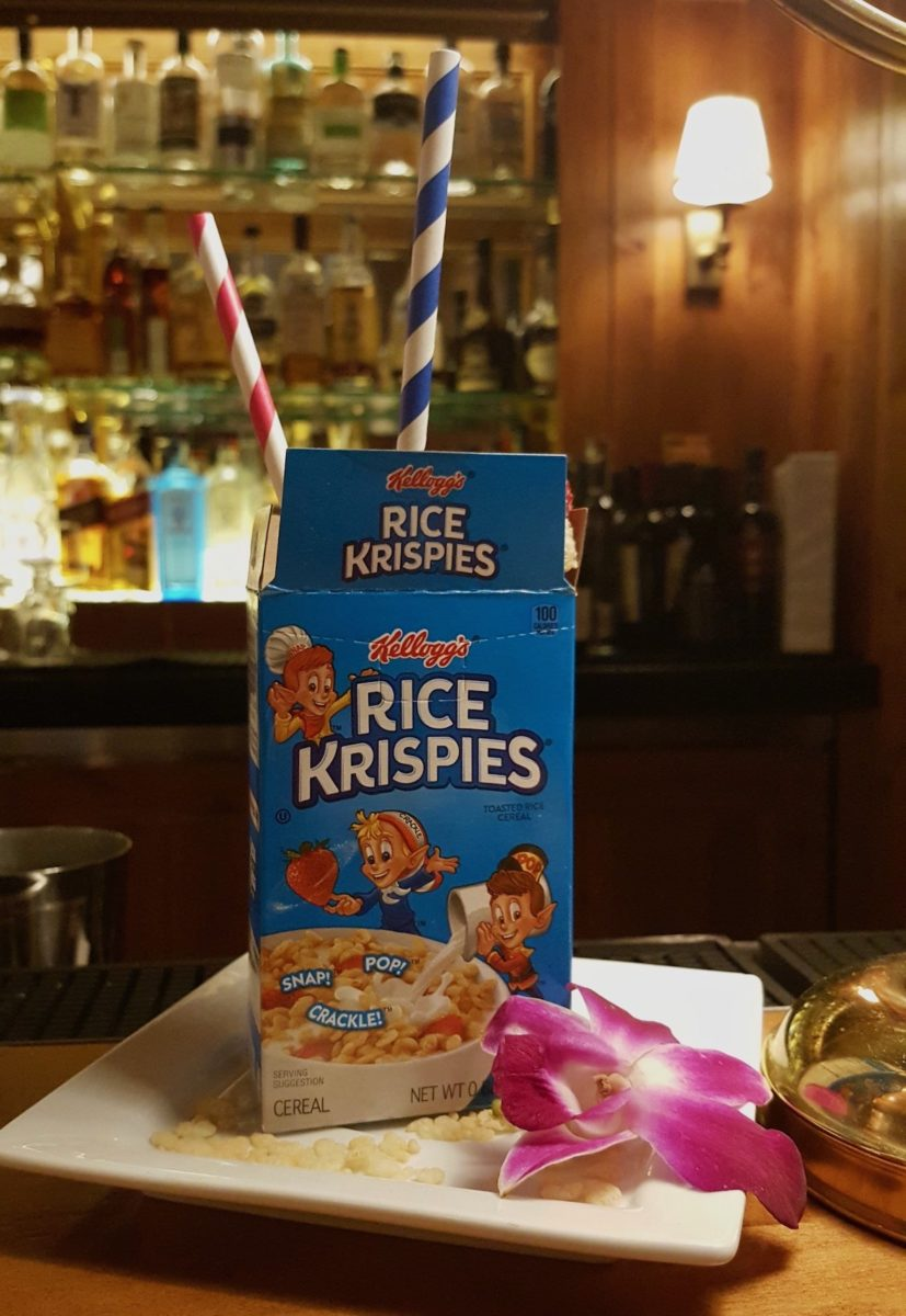 rice krispy treat box with colorful straws