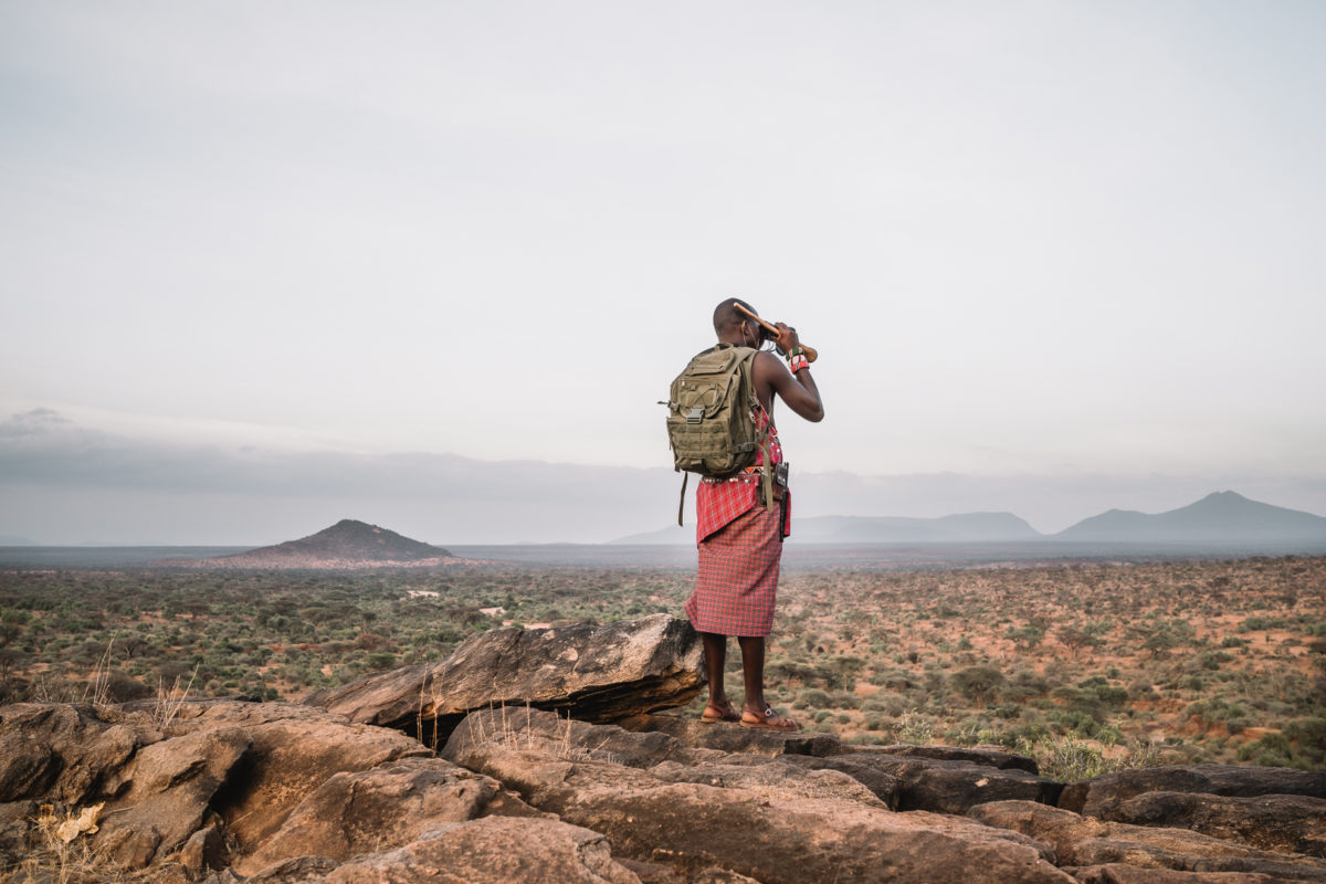 a safari guide stands at the edge of a plateau overlooking vast landscape and mountains