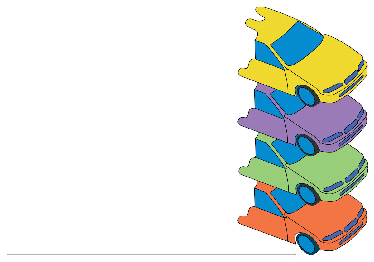 illustration of four cars (one yellow, one purple, one green, one orange) stacked on top of each other