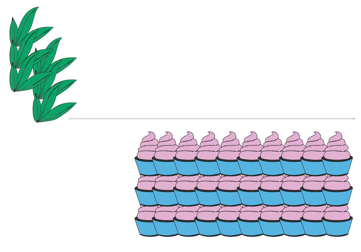illustration of plans and cupcakes