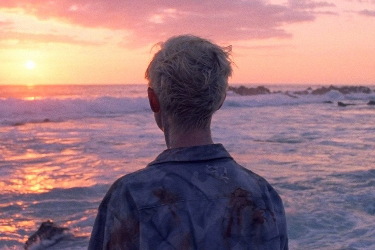 the back of a blond boy's head as he looks out over a beach at sunset