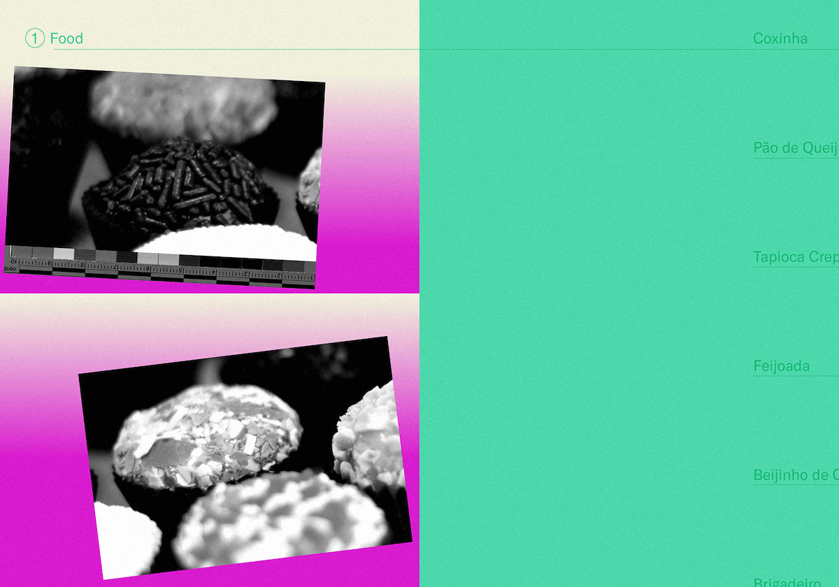 black and white photos of brazilian bread against green, pink, and white gradient background