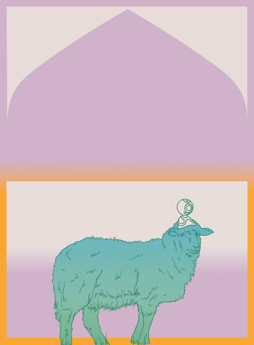 illustration in pastel colors of a sheep with a camera on its head.
