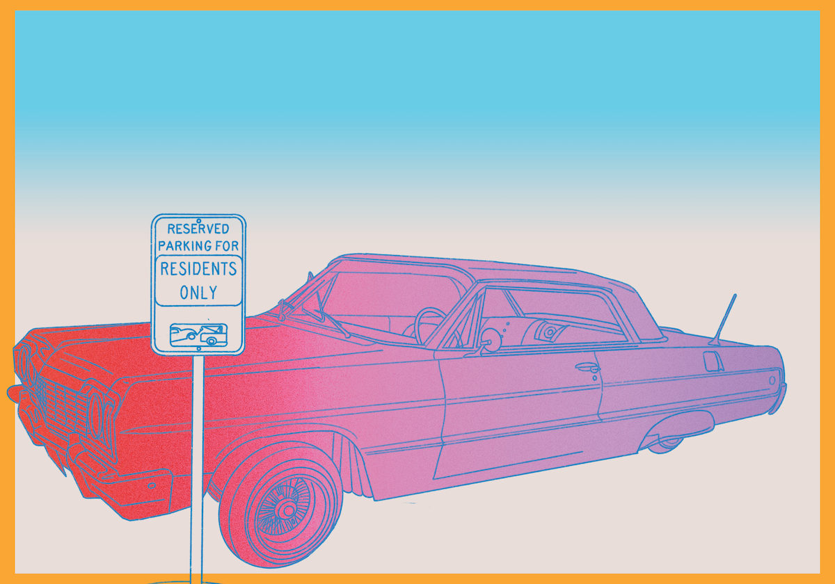 "Pastel illustration of a low-riding vehicle and a sign that says ""Reserved Parking for Residents Only"""