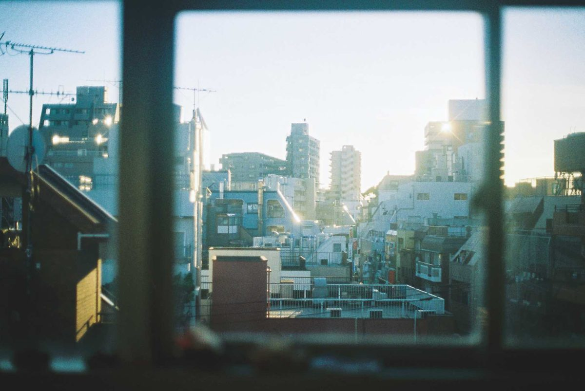 Tokyo as seen from a window in the early morning