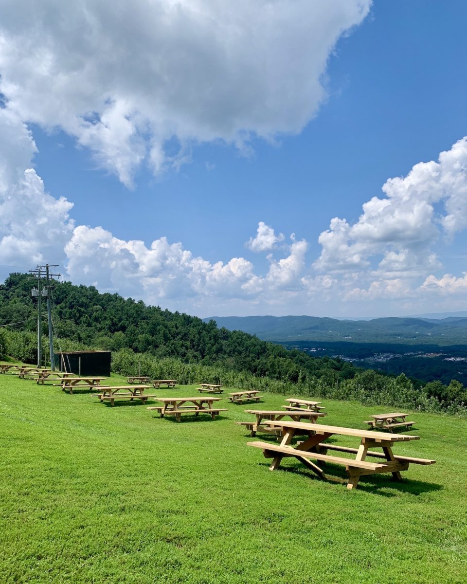 picnic benches spread out on a green hill lawn overlooking mountains