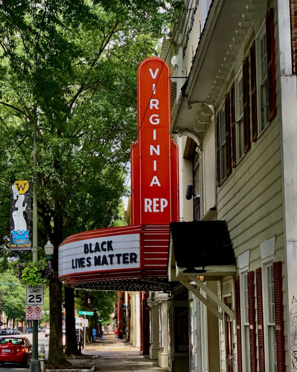 "old move theater sign that says ""Virginia"" and ""Black Lives Matter"""