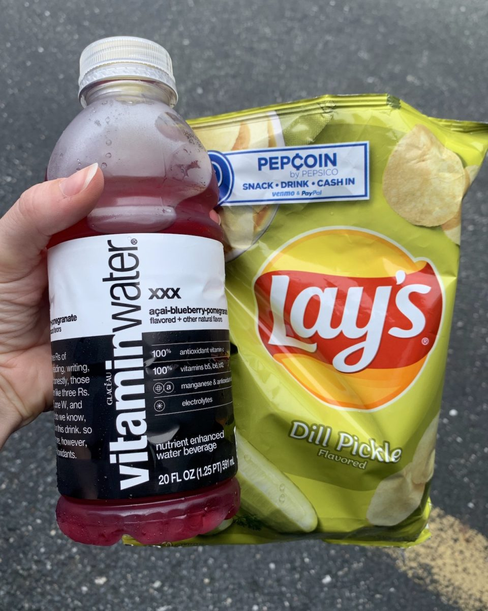 close up of vitamin water and lays pickle chips