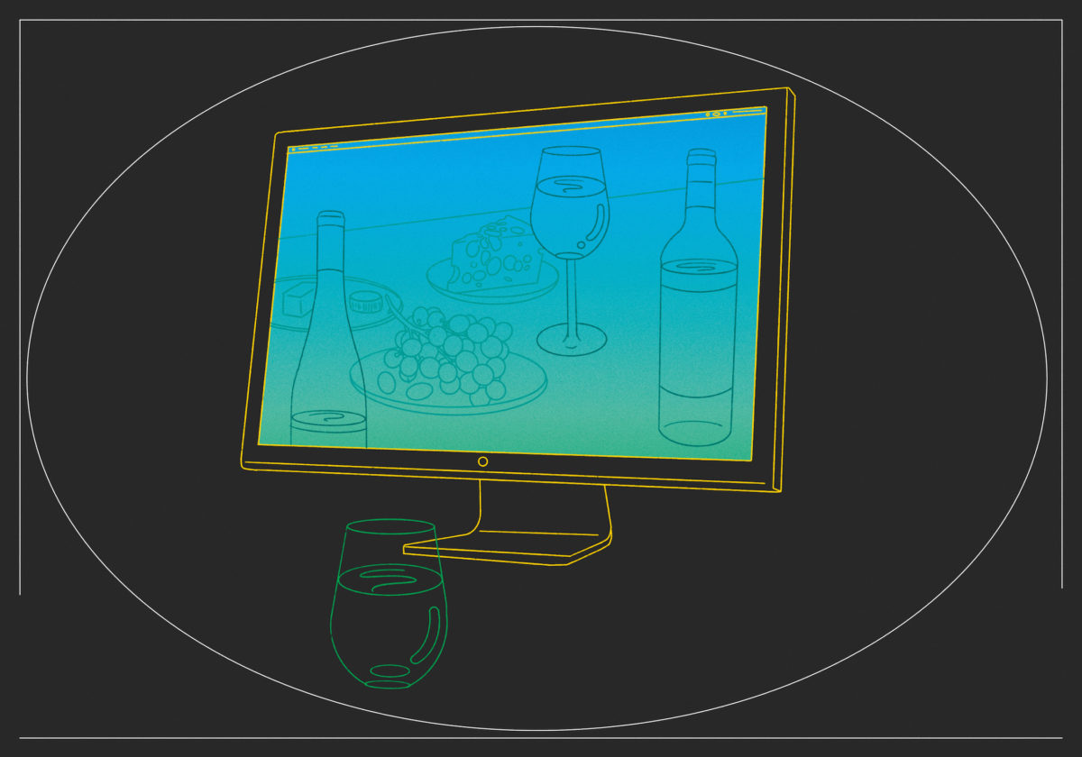 an illustrated computer displaying wine