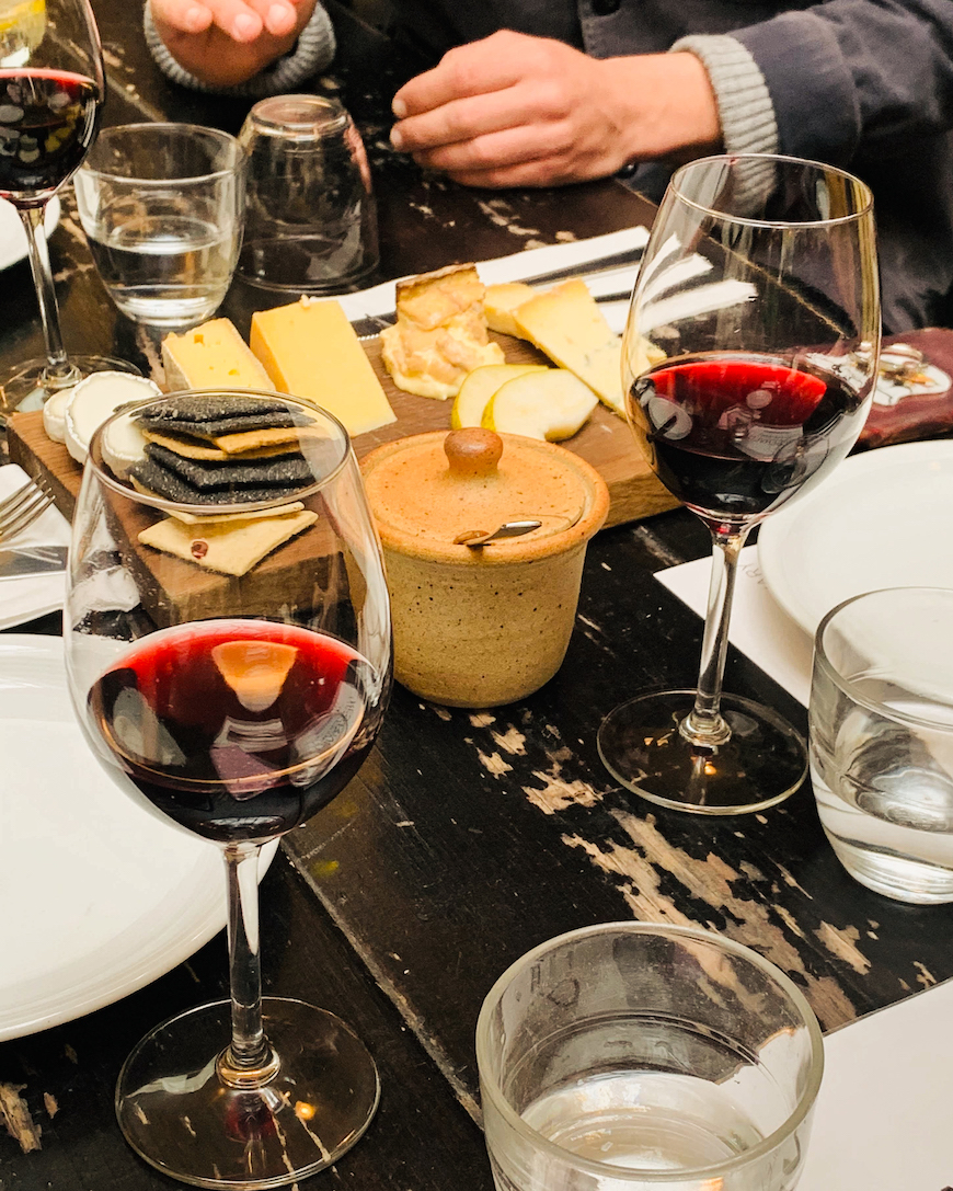 wine, cheese, and cakes