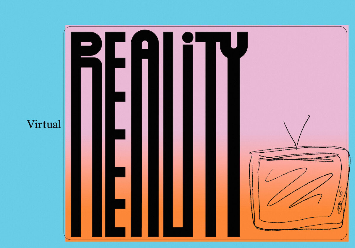 "graphic illustration that reads ""virtual reality"" in funky letters"