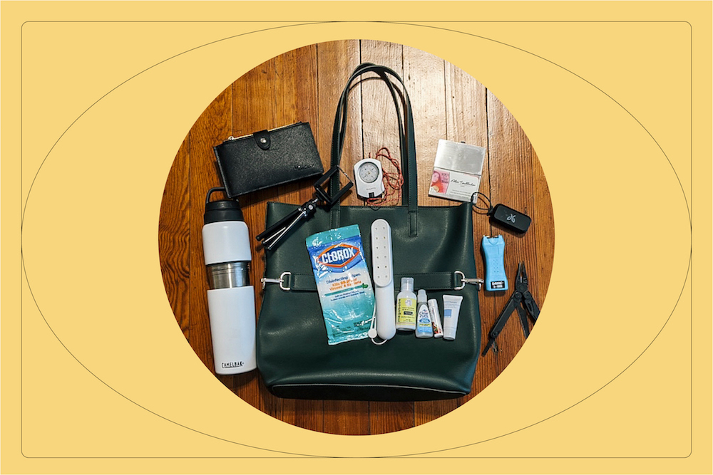 Tote bag with travel essentials.