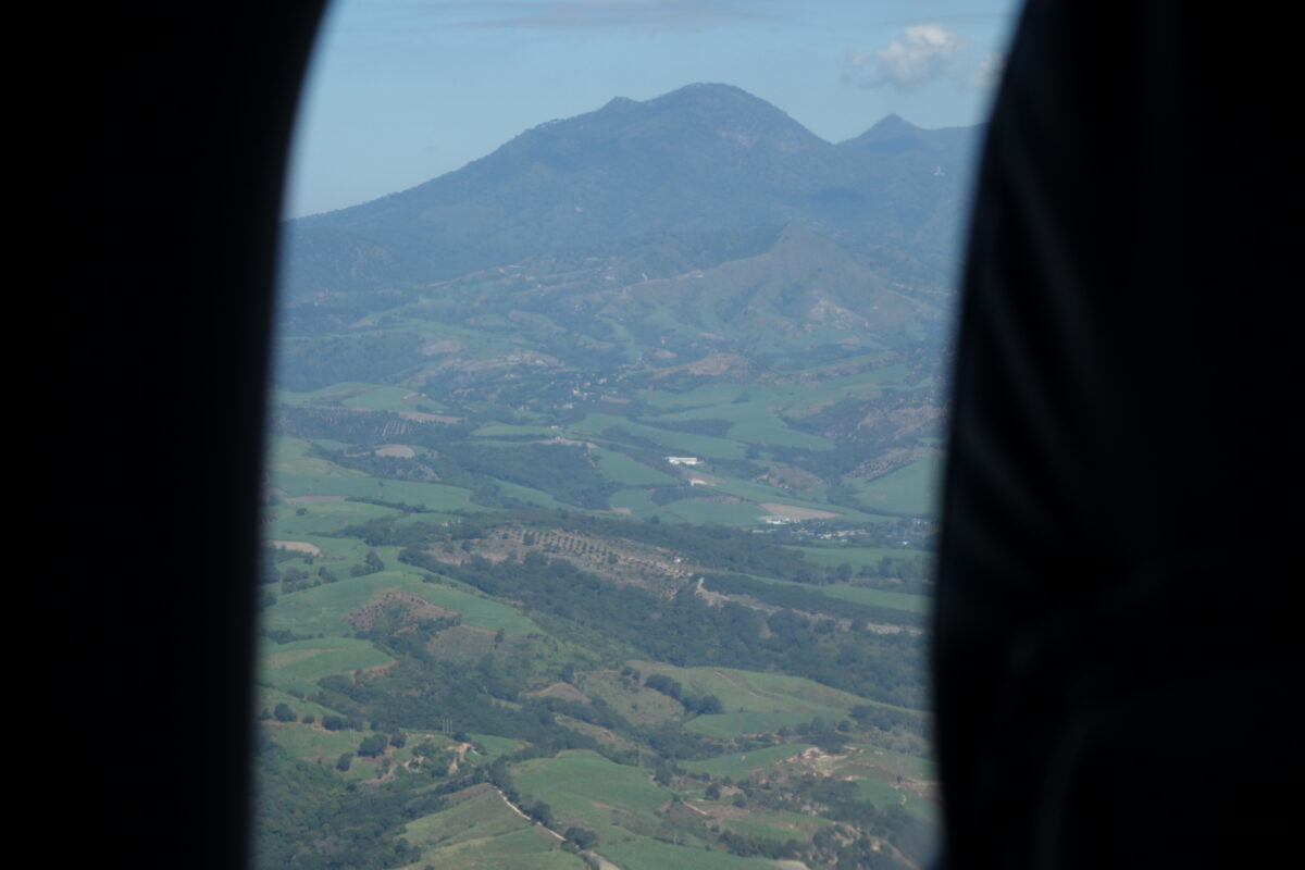 a mountain view from a plane window
